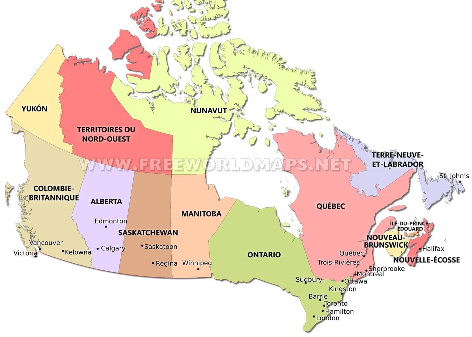 Carte Canada Vierge Imprimer.Carte Du Canda Freeworldmaps Net