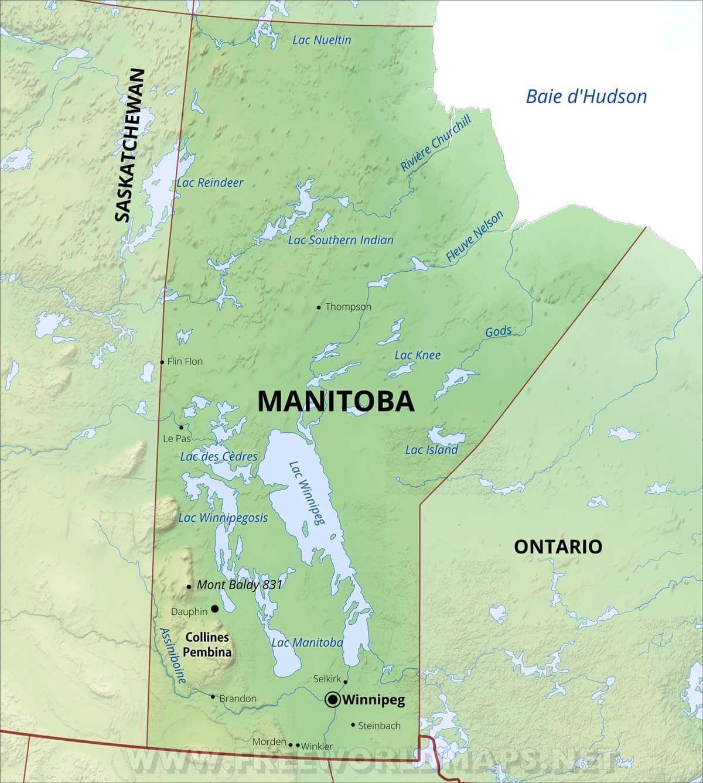 Carte Canada Manitoba.Carte Du Manitoba