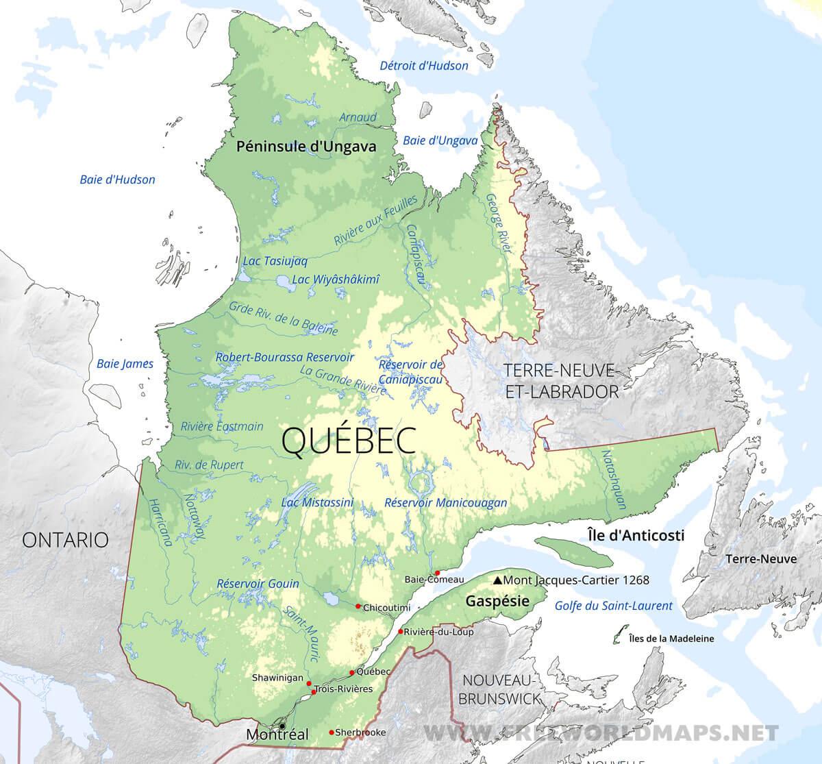 Carte Canada Chicoutimi.Carte Du Quebec