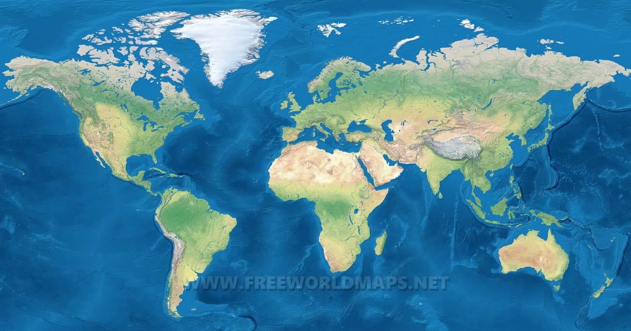 Carte Géographique Du Monde, carte physique du monde