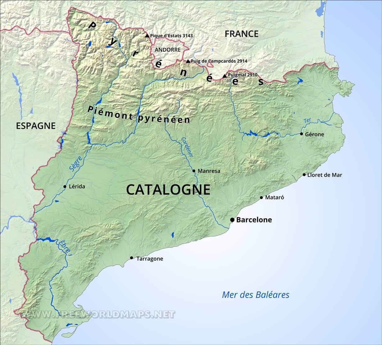 carte de la catalogne espagnole Carte de Catalogne