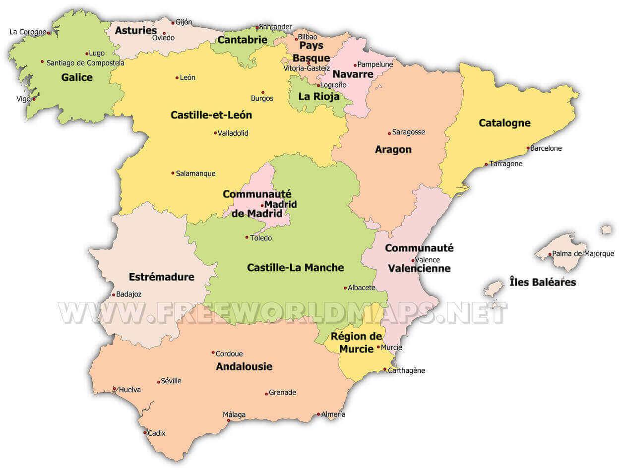 Carte Belgique Communautes Et Regions.Carte Geographique D Espagne
