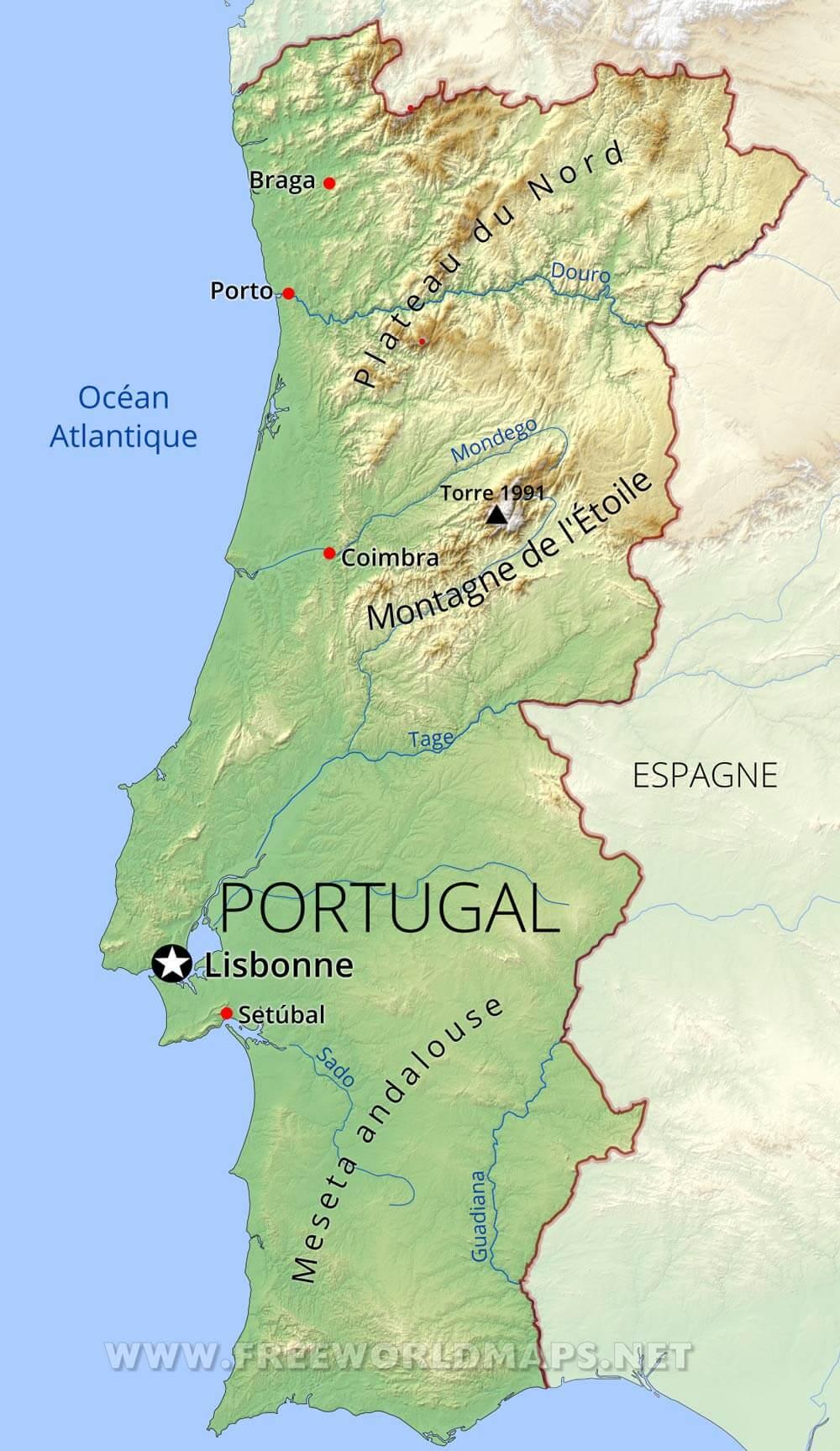 carte du sud du portugal Carte du Portugal