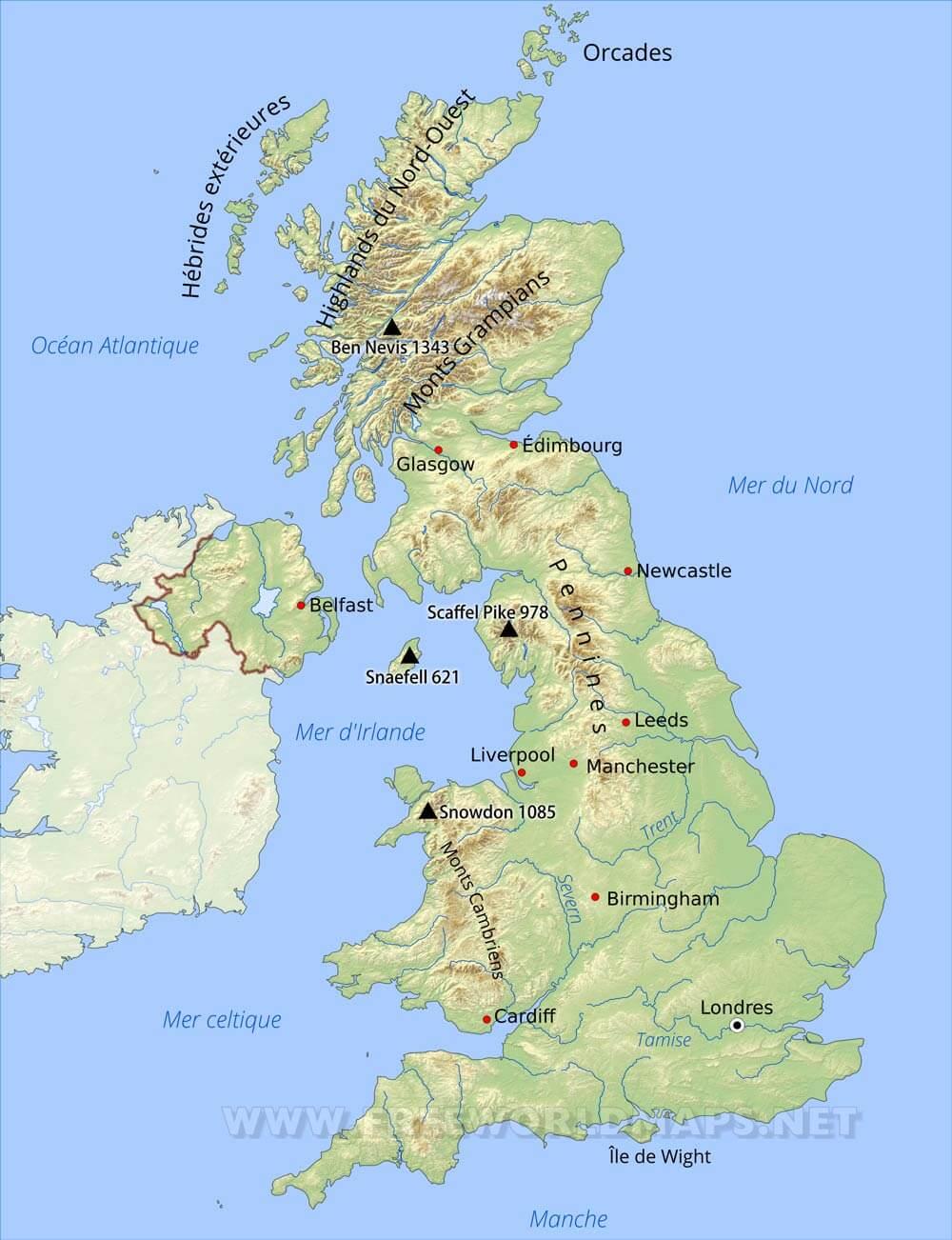 Carte Royaume Unis.Carte Du Royaume Uni