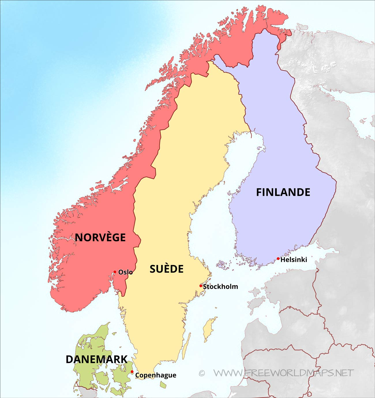 Carte Pays Nordiques Europe.Carte De Scandinavie