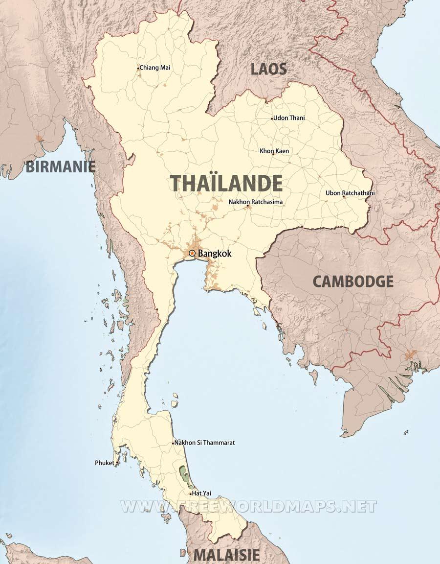 Carte Thailande Regions.Carte De Thailande