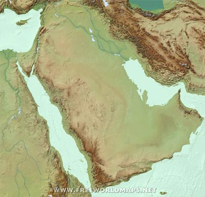 Blank Physical Map Of Middle East Free Middle Eas...