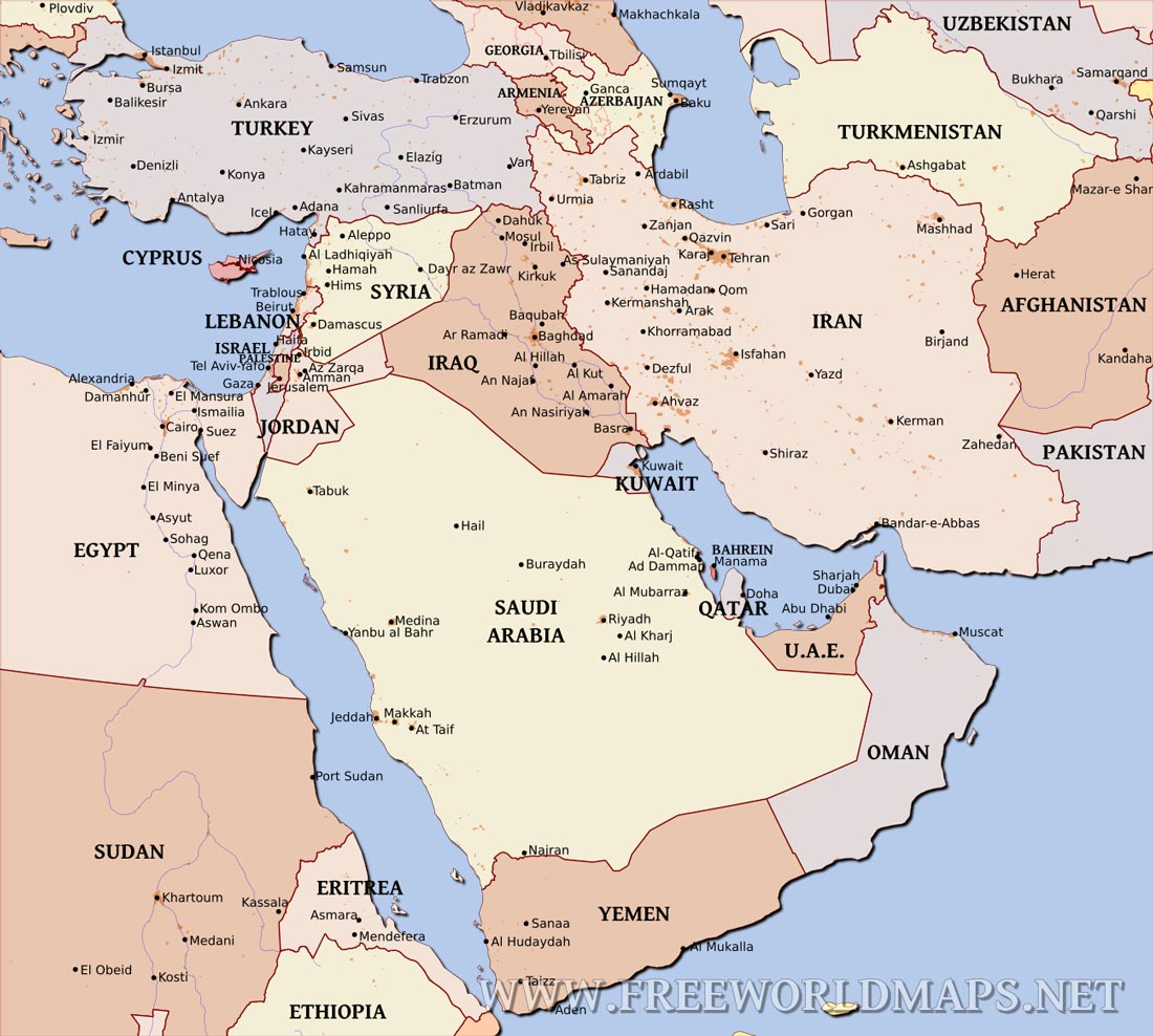 Middle East Political Map - Map of egypt and middle east