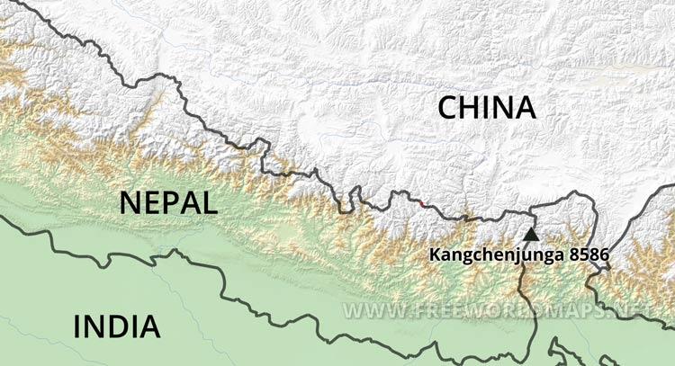 Kangchenjunga map - by Freeworldmaps.net