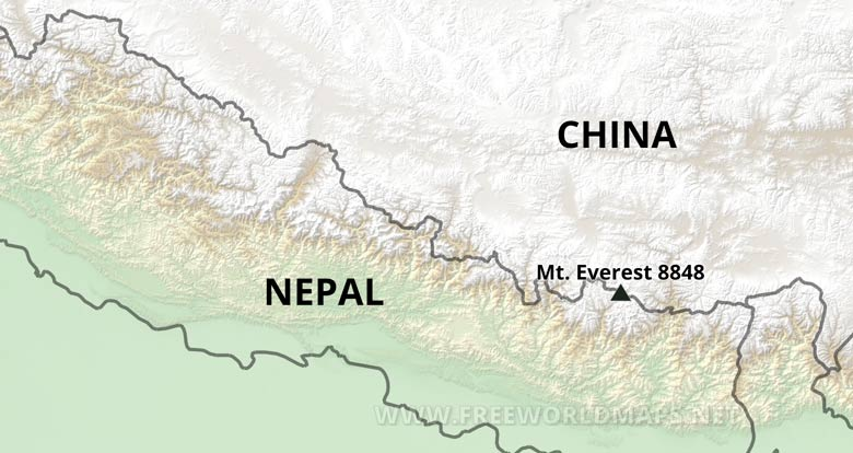 Location Of Mount Everest On World Map.Mt Everest Map By Freeworldmaps Net