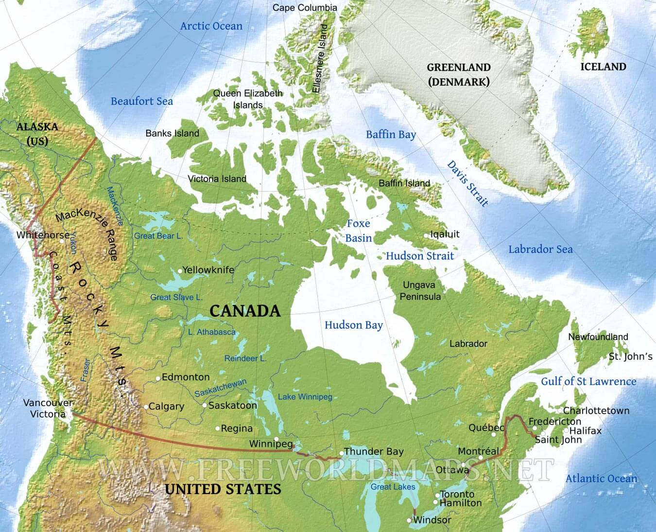 Canada Physical Map - Mountains in canada map