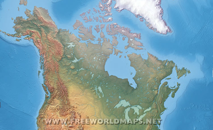 Canada Physical Map - Relief map of canada