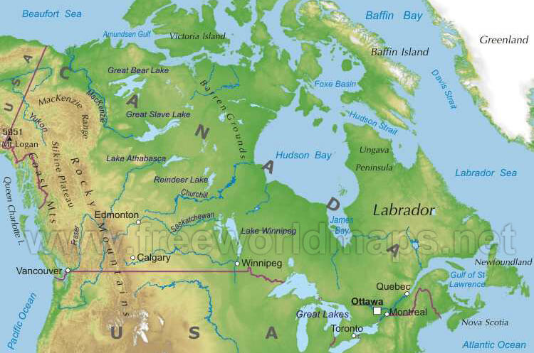 Ykearywyr Physical Map Of Us And Canada - Map of us physical features