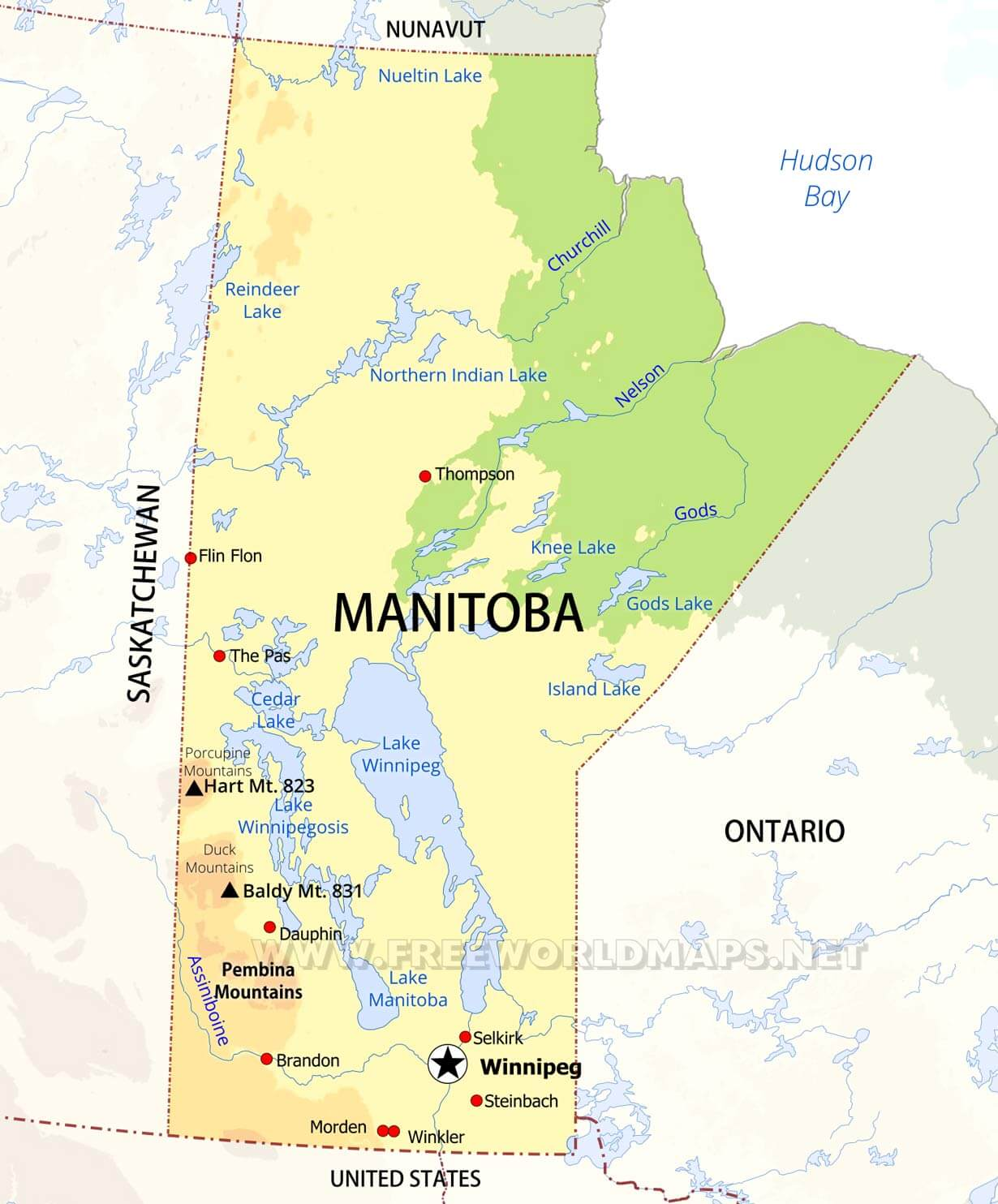 Physical Map Of Manitoba - Mountains in canada map