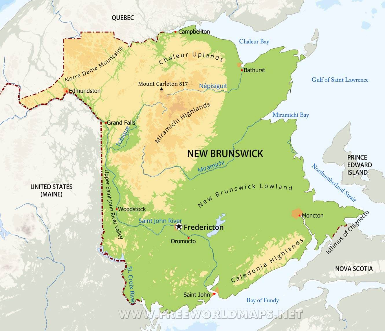 Physical map of New Brunswick