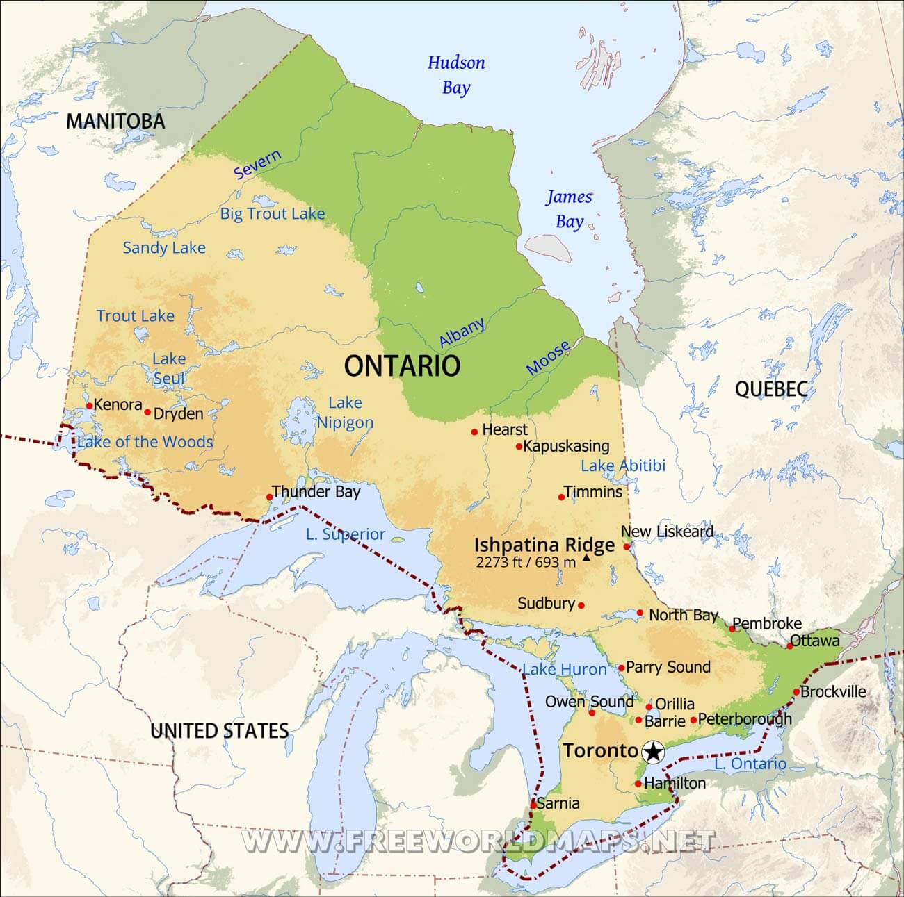 Physical Map Of Ontario - Physical features map of canada