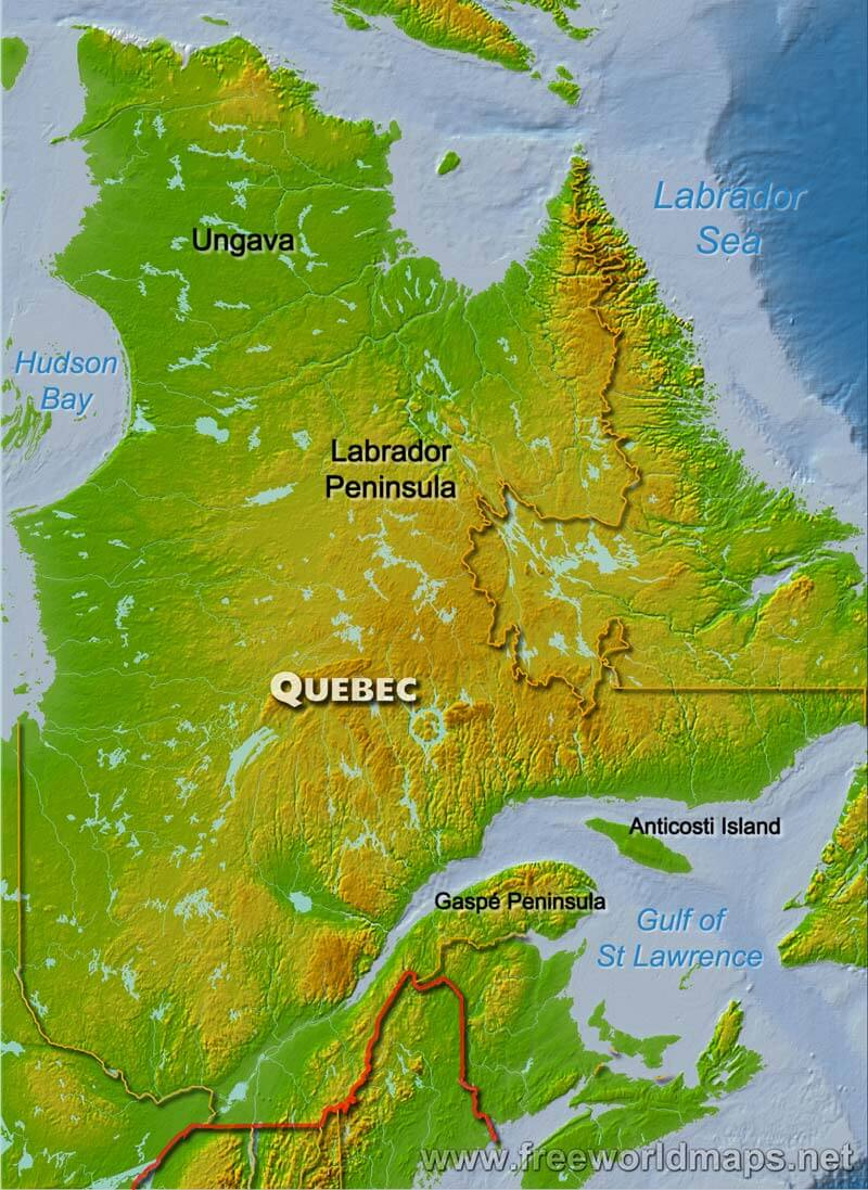 Quebec On Map Of Canada.Physical Map Of Quebec