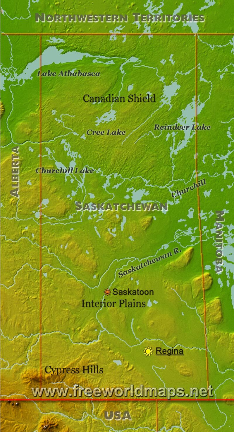 Physical Map Of Saskatchewan - Map of southern saskatchewan canada