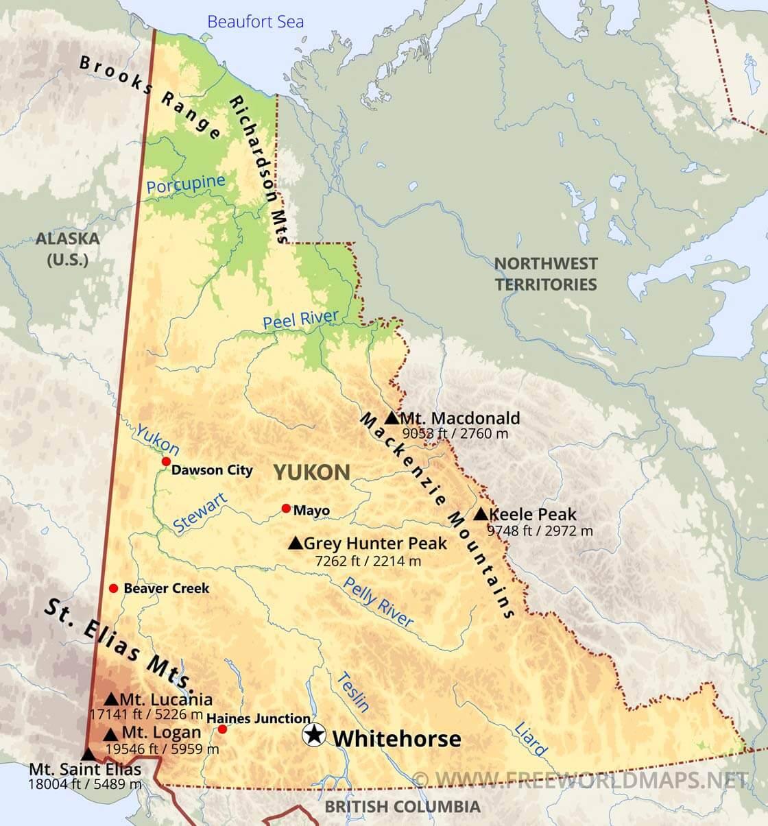 Physical Map Of Yukon - Yukon map