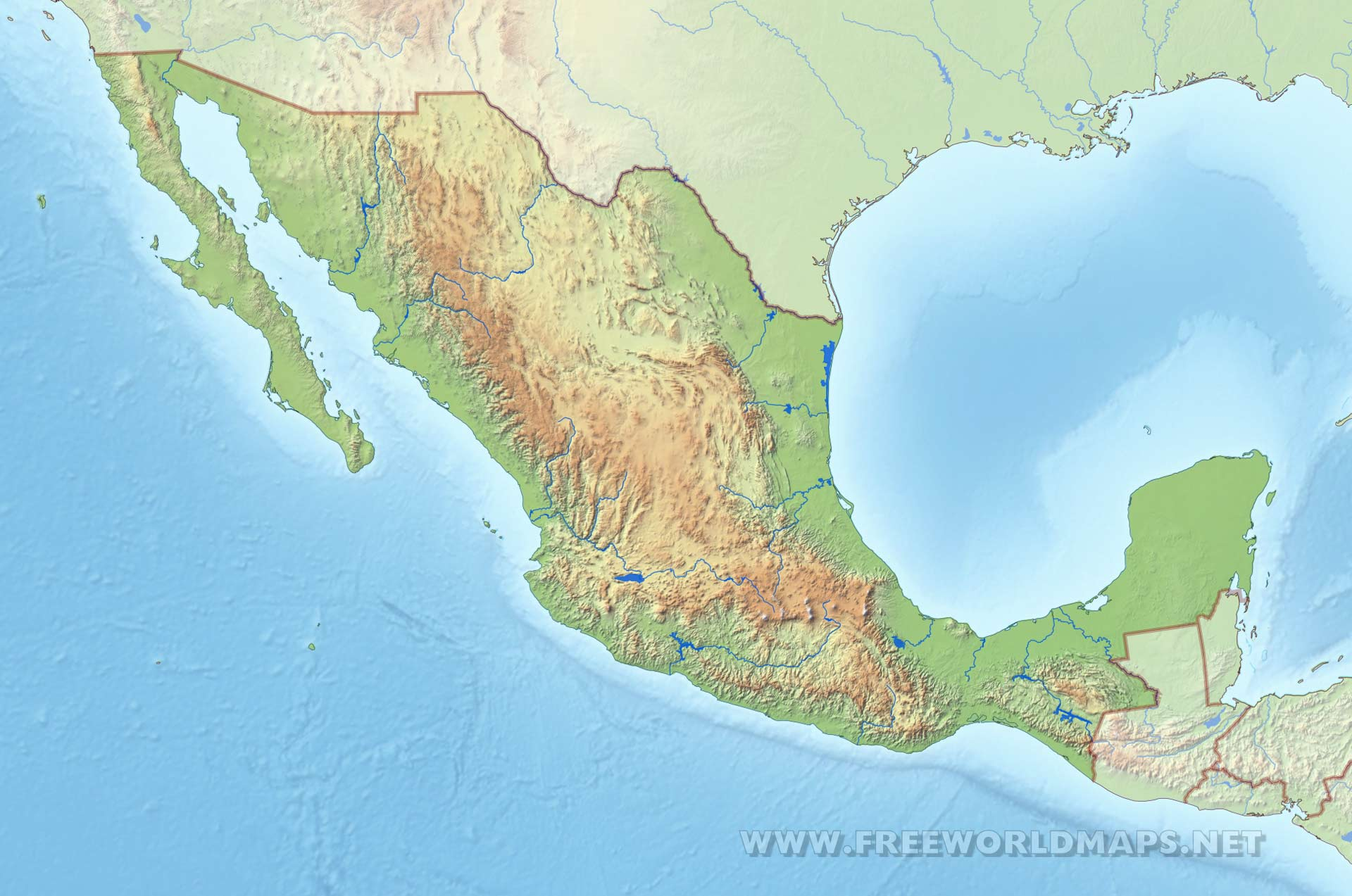 mexico map in hd high resolution physical map of mexico mexico rivers