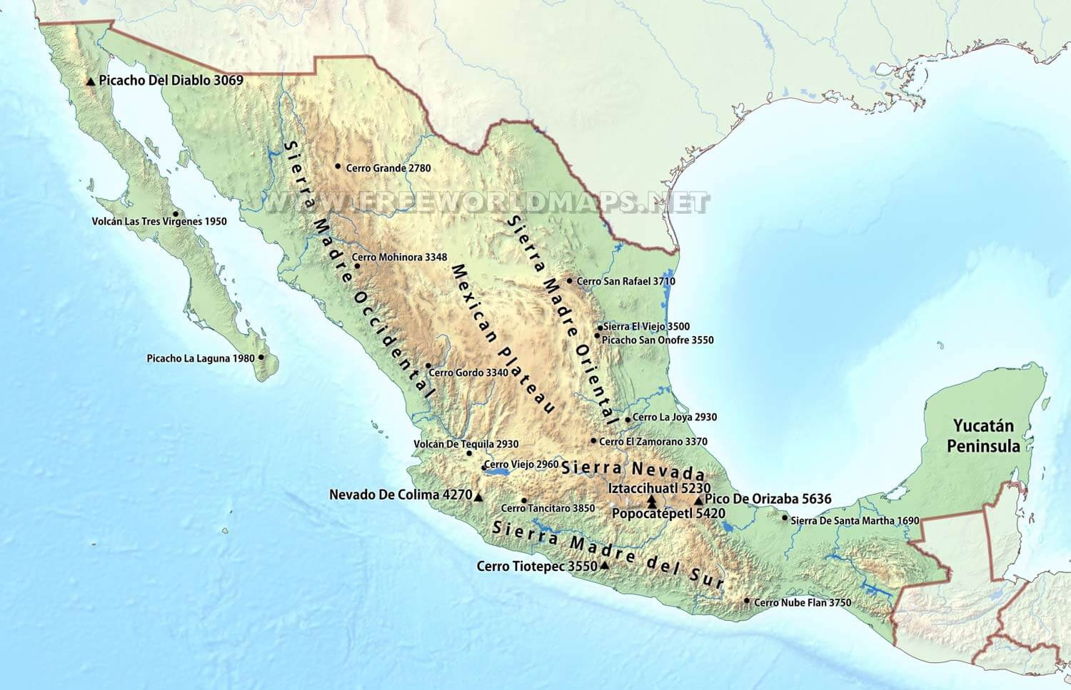 Mexico Physical Map - Us map with nountains