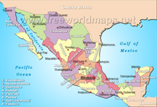 mexico political map small