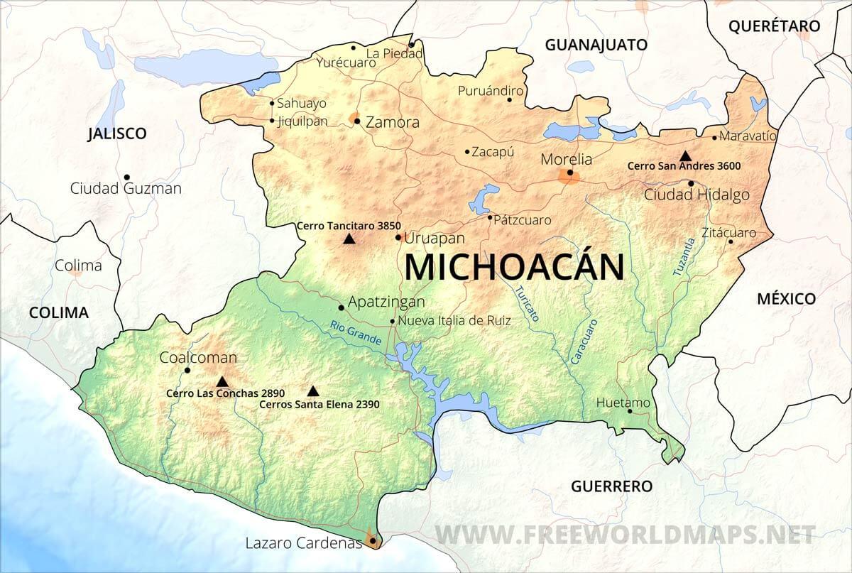 Tourist Map Michoacan Mexico | www.tollebild.com