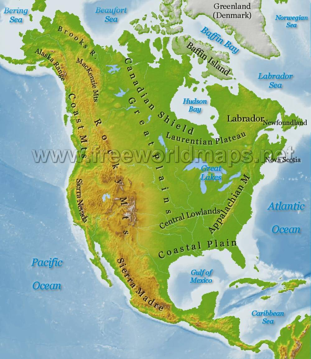 North America Physical Map Freeworldmapsnet - United states of america physical maps