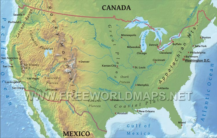 Physical map of the united states lambert equal area projection