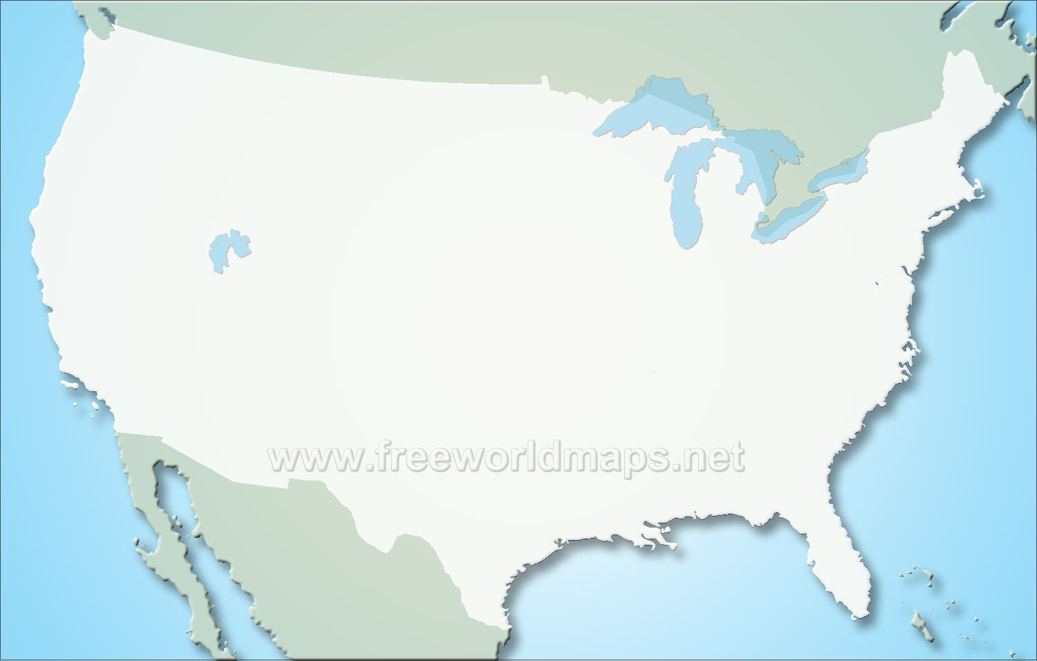Physical world map blank