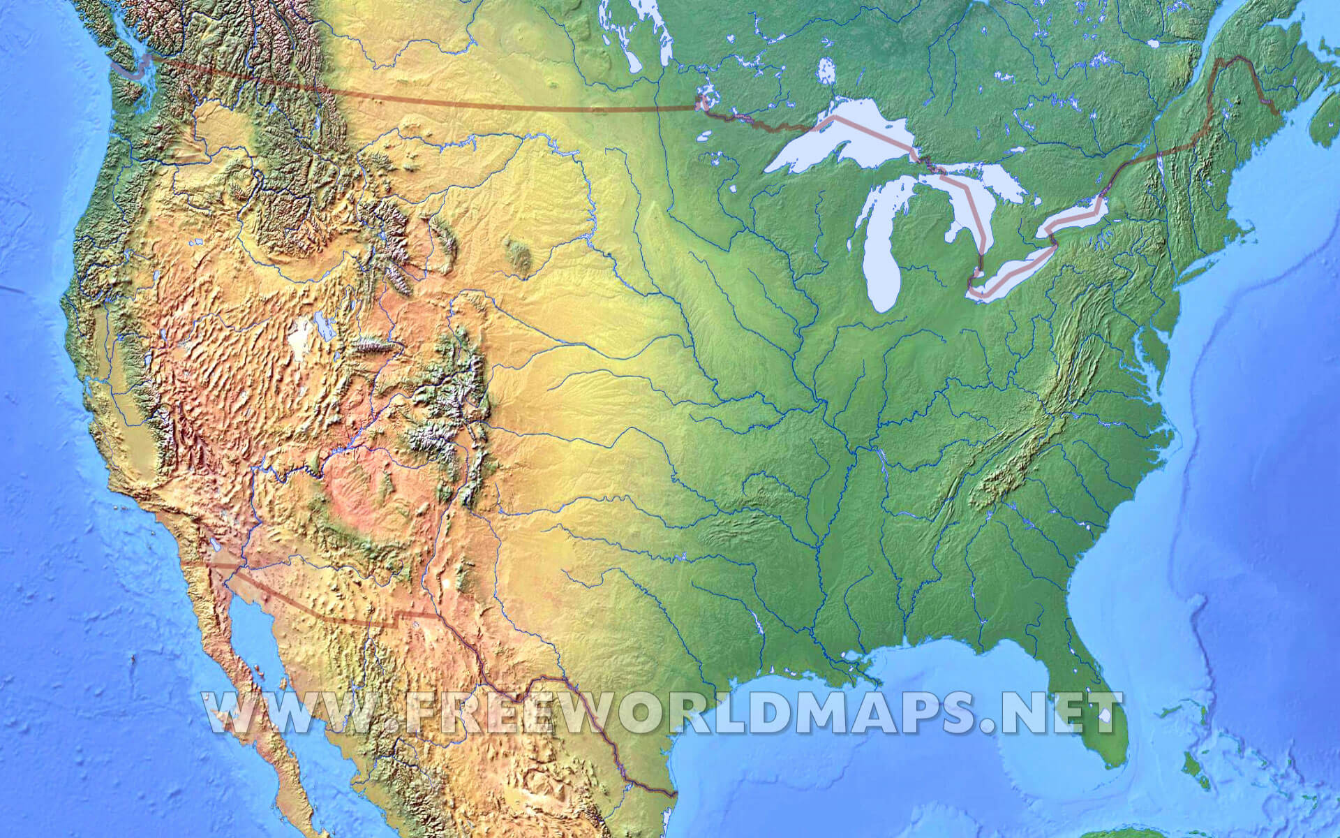 United States Physical Map - Us map lakes and rivers