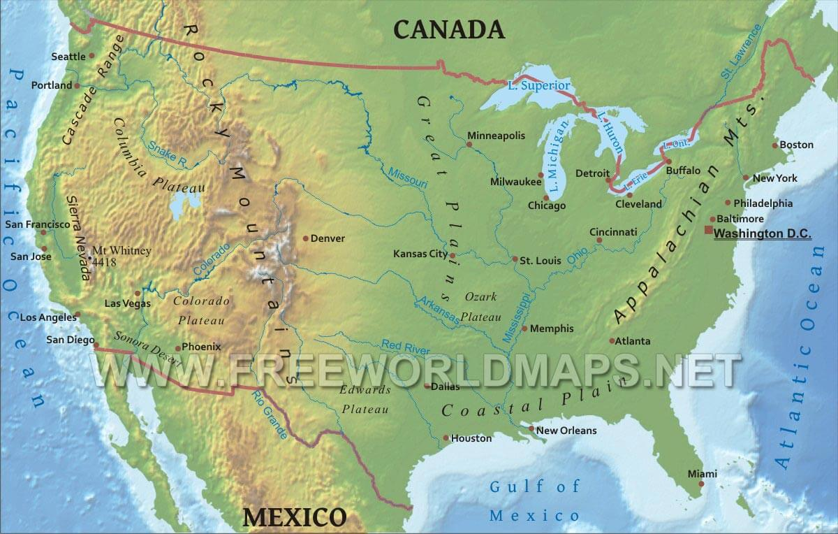 United States Physical Map - Us map with nountains