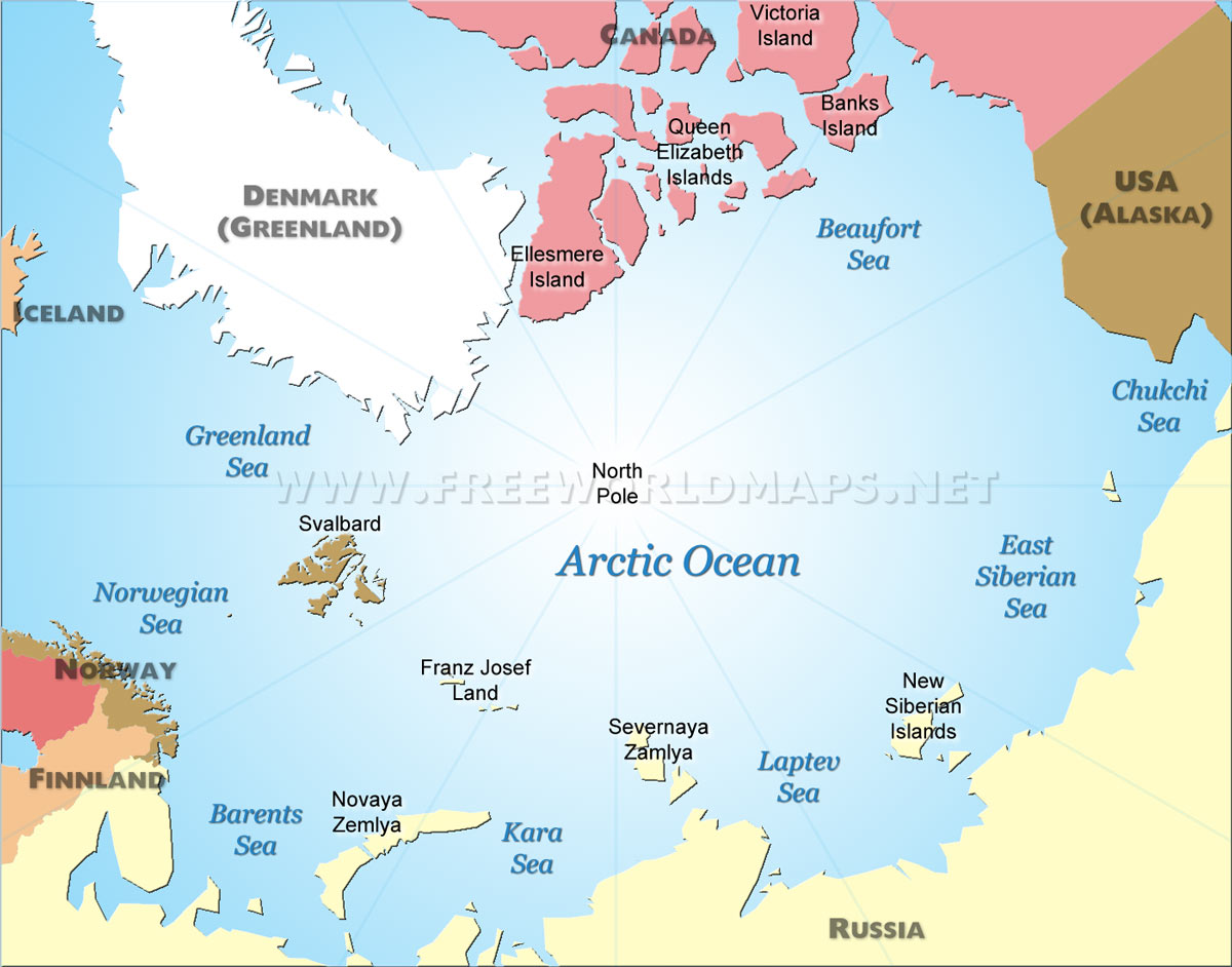 Geography And Map Of The Arctic Ocean