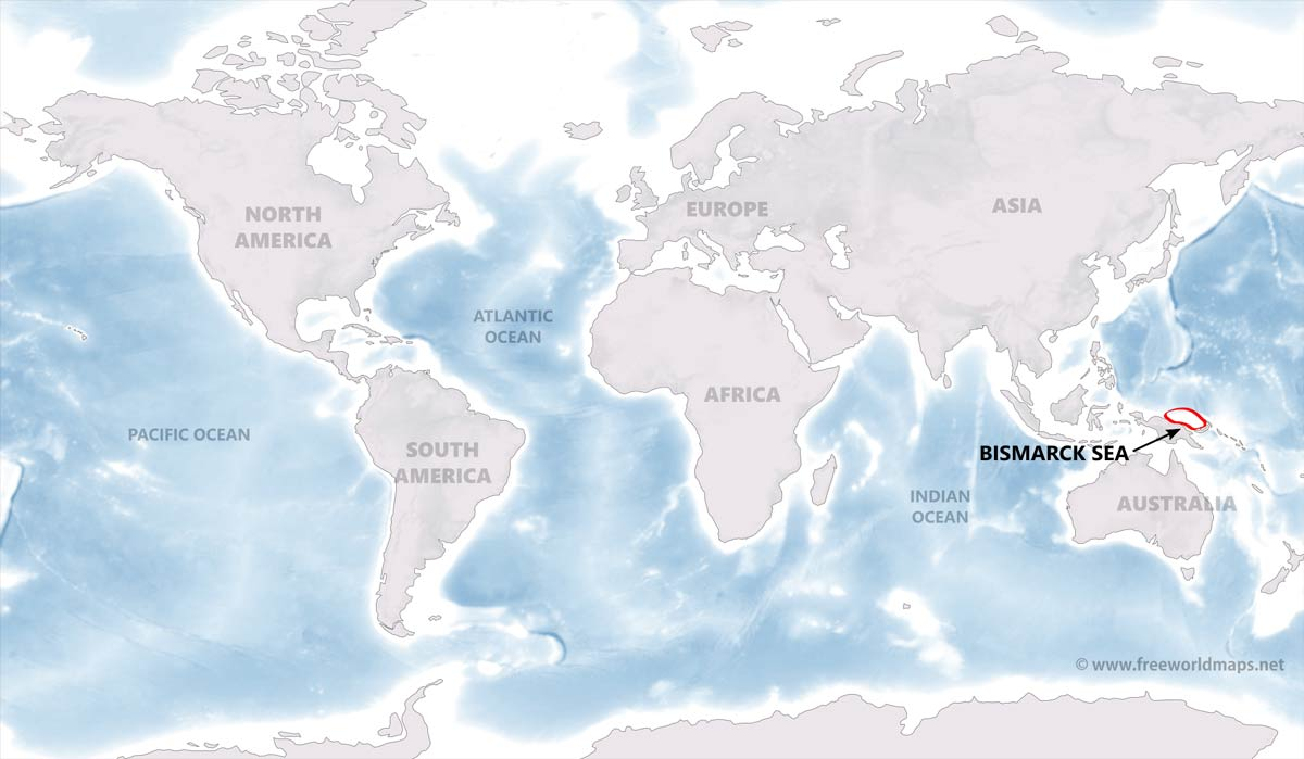bismarck sea map by freeworldmaps net