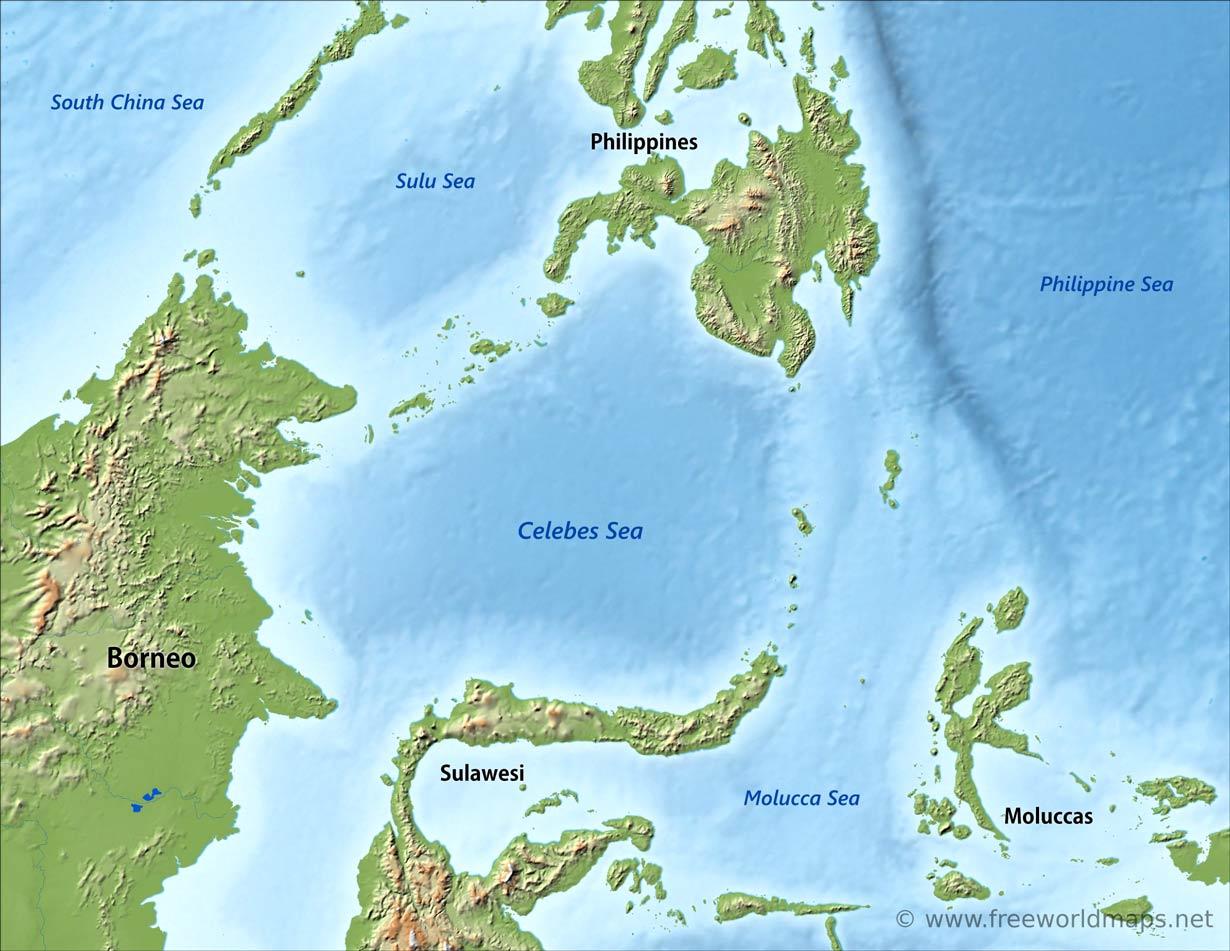 Celebes Sea map - by Freeworldmaps.net
