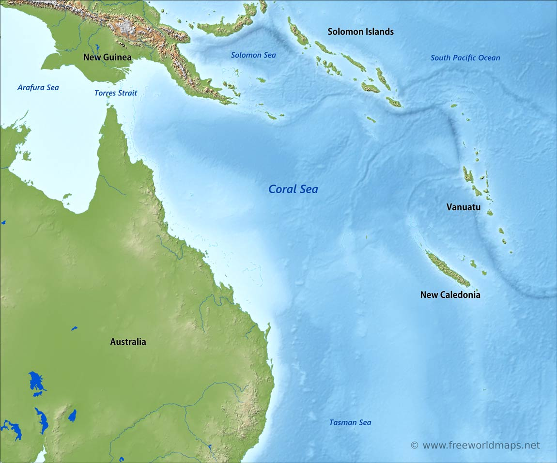 Coral Sea map by Freeworldmaps