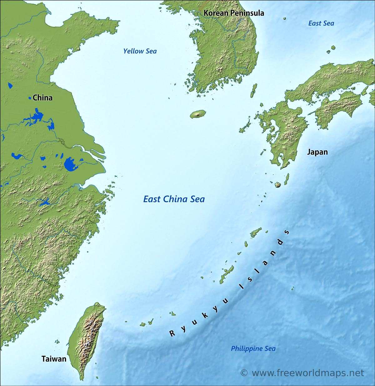 East China Sea map by Freeworldmapsnet