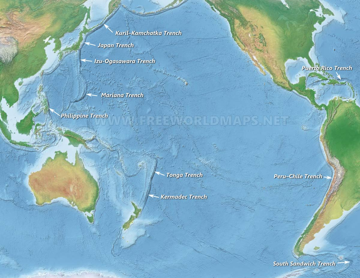 Oceanic trenches by FreeWorldMapsnet