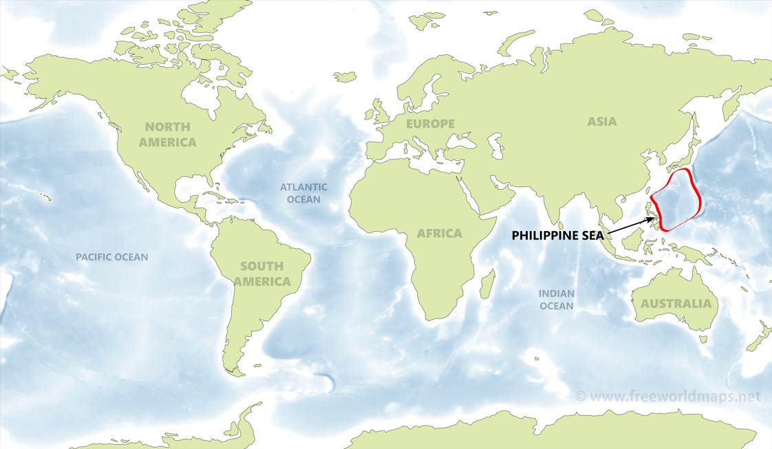 Philippine sea map by freeworldmaps location of the philippine sea on the world map gumiabroncs