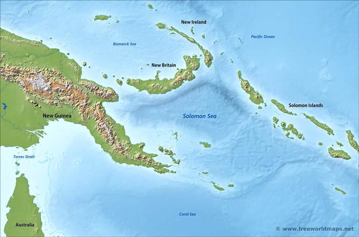 Solomon Sea Map By Freeworldmaps Net