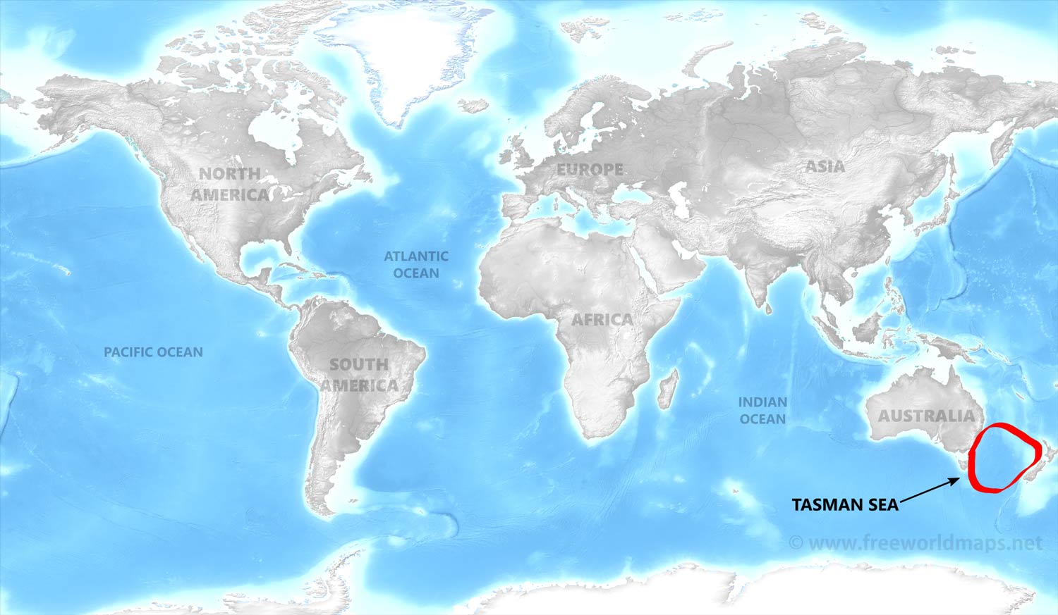 Tasman Sea map by Freeworldmapsnet