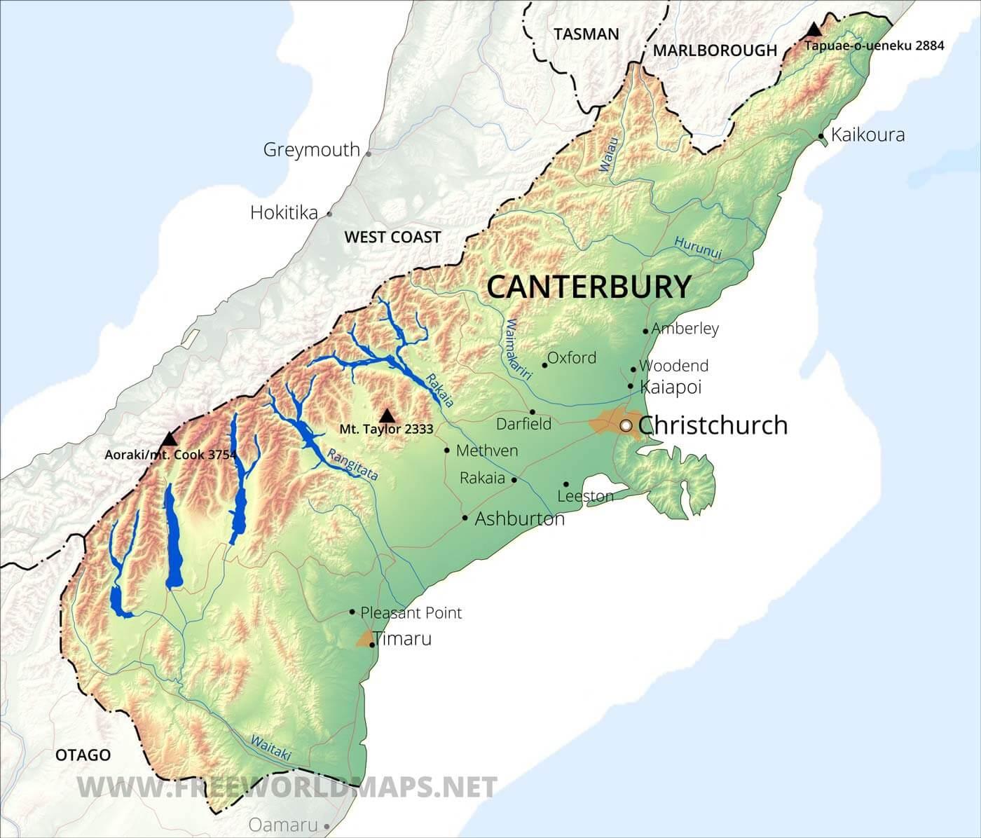 Map Of Canterbury New Zealand.Canterbury Maps Nz