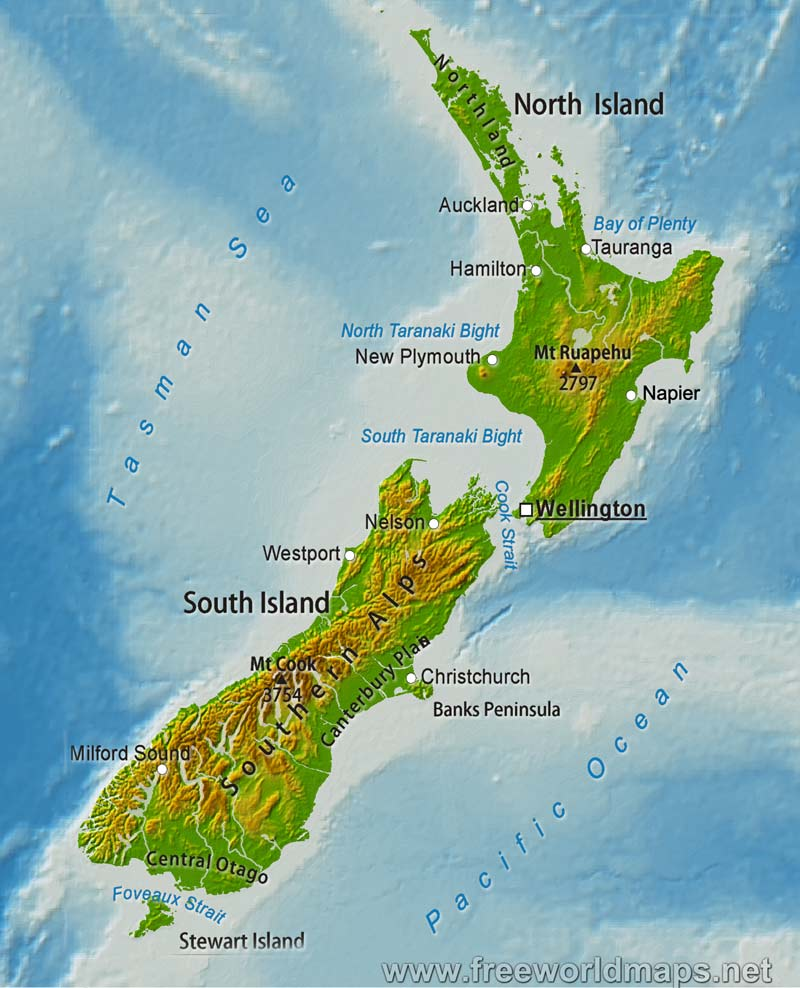 Physical map of new zealand equirectangular projection