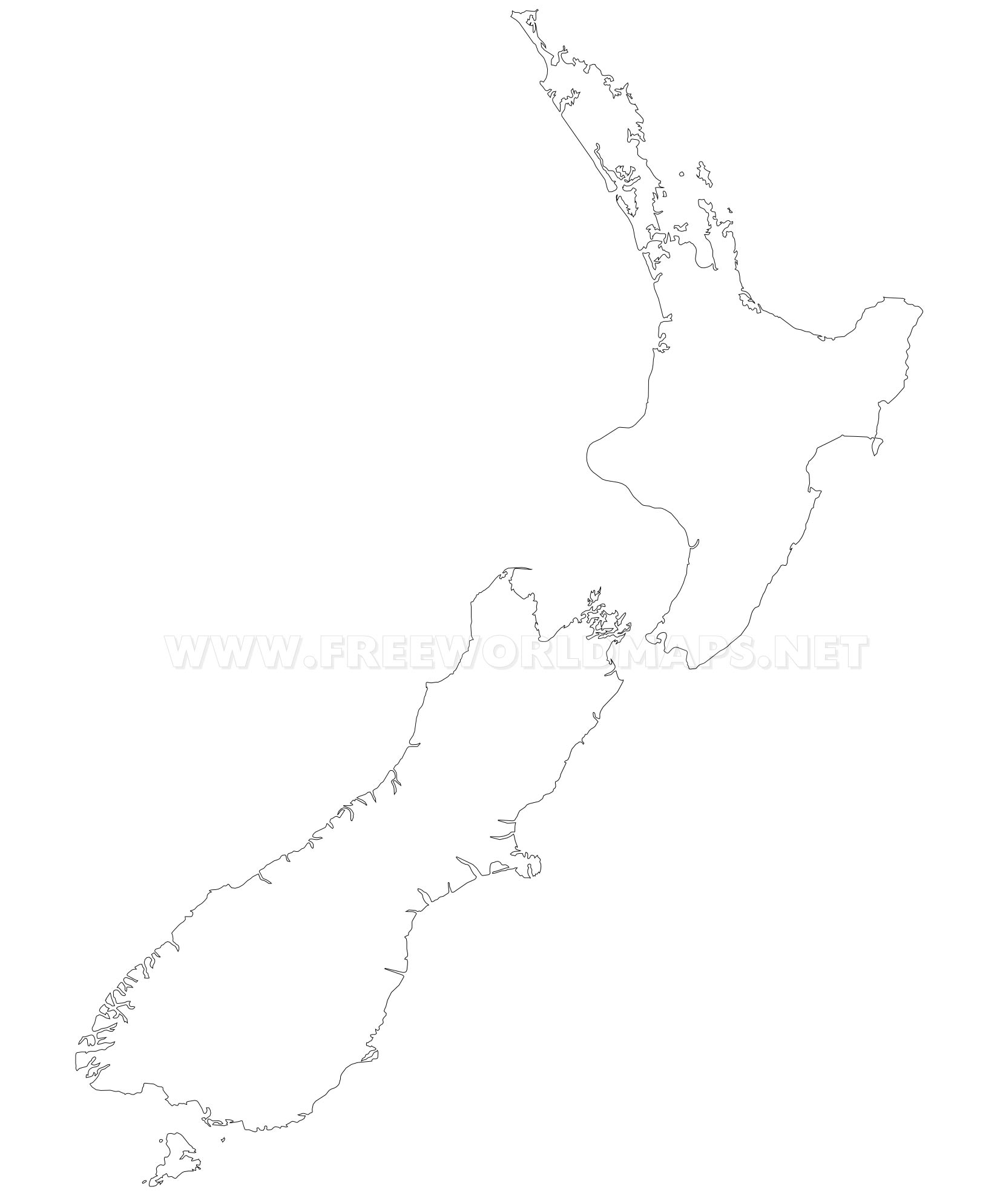 New Zealand Political Map - Oceania outline map