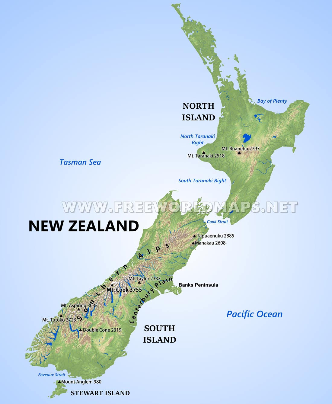 New Zealand Physical Map - Physical map of oceania