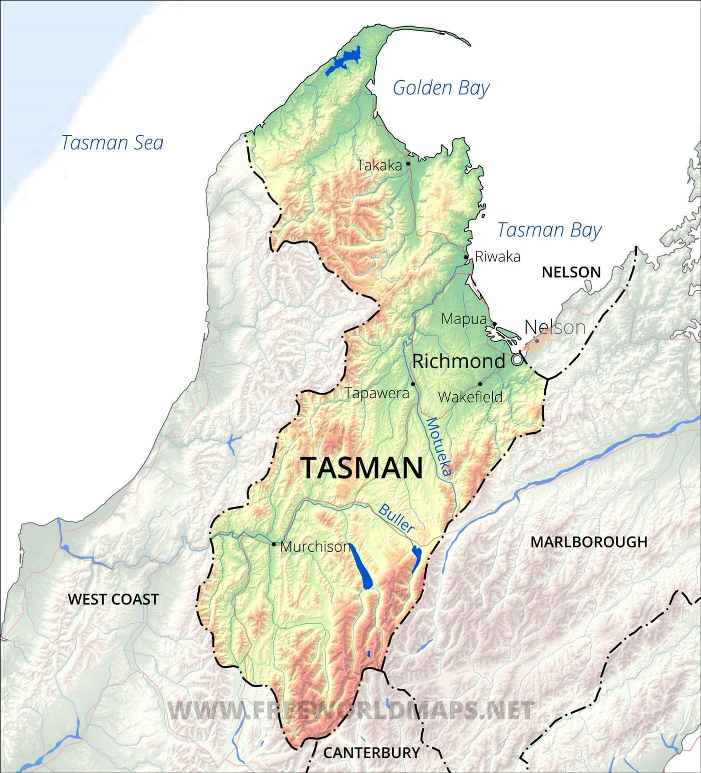 New Zealand District Map.Tasman District Maps Nz