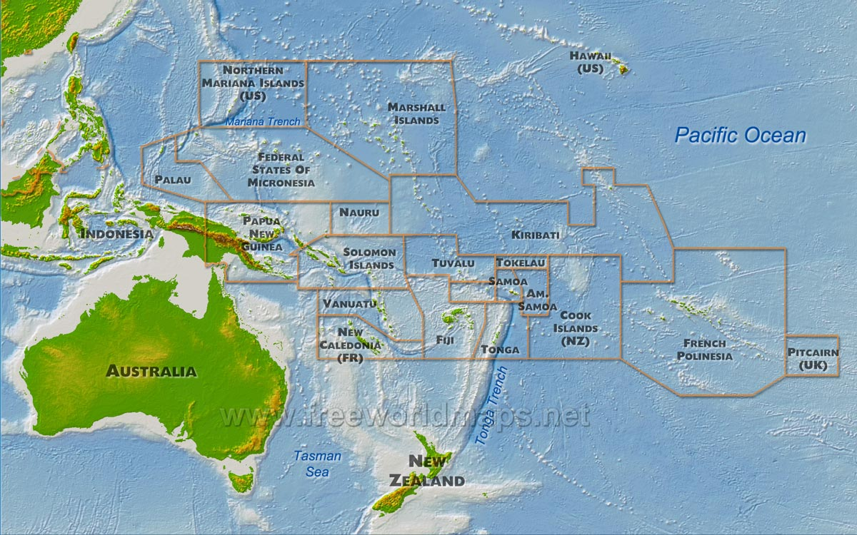 Oceania Maps Freeworldmapsnet - Physical map of oceania