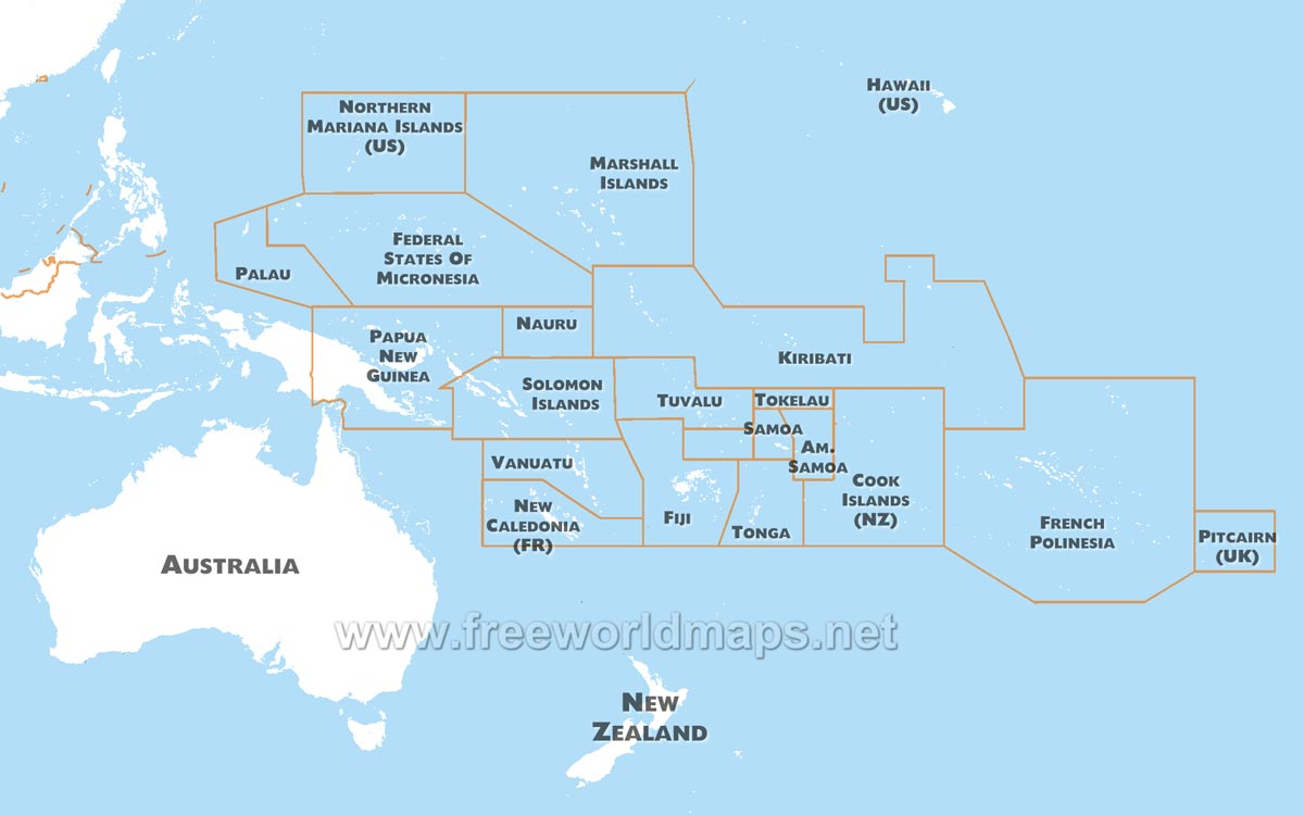 Australia+and+oceania+blank+map