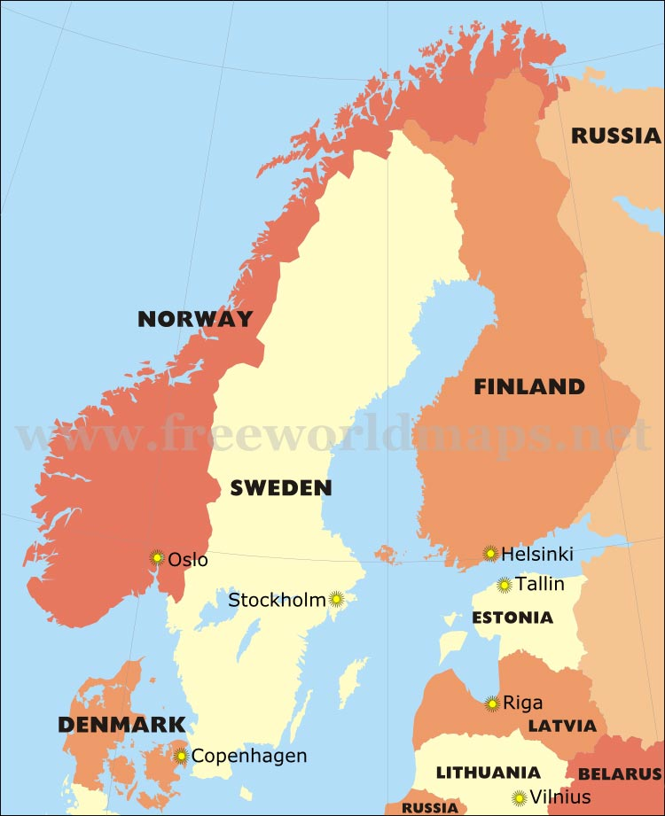 Free PDF maps of Scandinavia