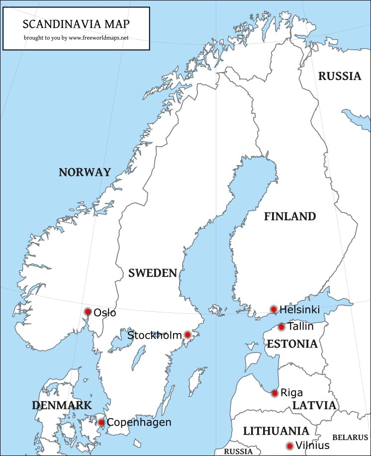 photograph about Scandinavia Map Printable known as Cost-free PDF maps of Scandinavia